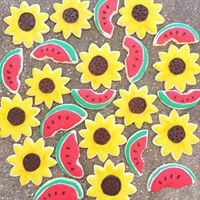 Sunflower and Watermelon Sugar Cookies